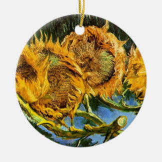 Van Gogh - Four Cut Sunflowers Double-Sided Ceramic Round Christmas Ornament