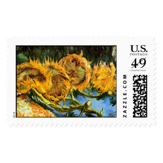 Van Gogh - Four Cut Sunflowers Stamps