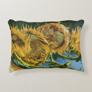 Van Gogh Four Cut Sunflowers, Vintage Fine Art Accent Pillow