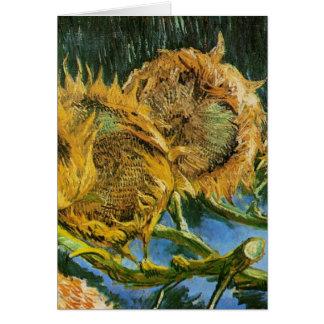 Van Gogh Four Cut Sunflowers, Vintage Fine Art Card