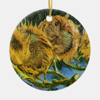 Van Gogh Four Cut Sunflowers, Vintage Fine Art Ceramic Ornament