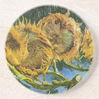 Van Gogh Four Cut Sunflowers, Vintage Fine Art Coaster