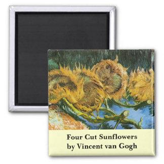 Van Gogh Four Cut Sunflowers, Vintage Fine Art Magnet