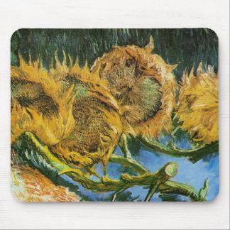 Van Gogh Four Cut Sunflowers, Vintage Fine Art Mouse Pad
