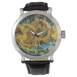 Van Gogh Four Cut Sunflowers, Vintage Fine Art Wristwatch
