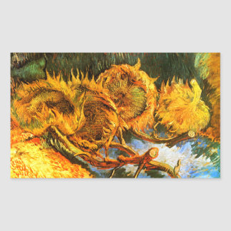 Van Gogh: Four Sunflowers Rectangular Sticker