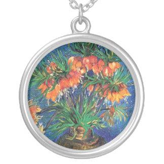 Van Gogh - Fritillaries In A Copper Vase Round Pendant Necklace