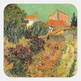 Van Gogh Garden Behind a House, Vintage Farm Square Sticker