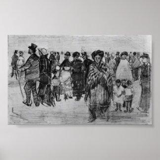 Van Gogh - gente que camina en la playa Posters