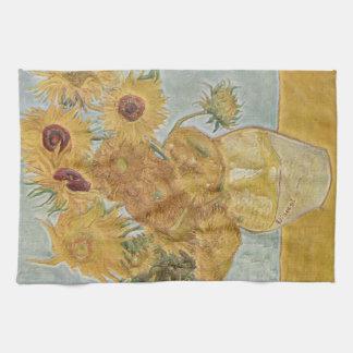 Van Gogh - girasoles del florero doce Toalla De Cocina