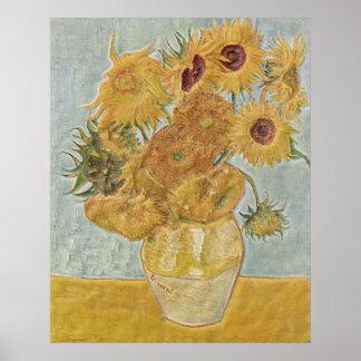 Van Gogh - girasoles del florero doce Póster