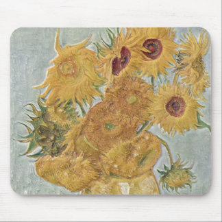 Van Gogh - girasoles del florero doce Tapete De Ratón
