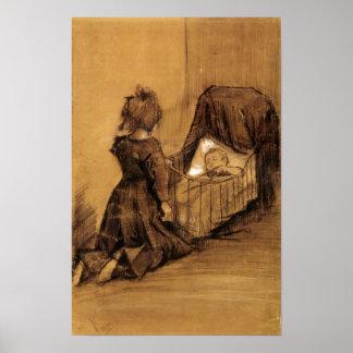 Van Gogh - Girl Kneeling by a Cradle Poster