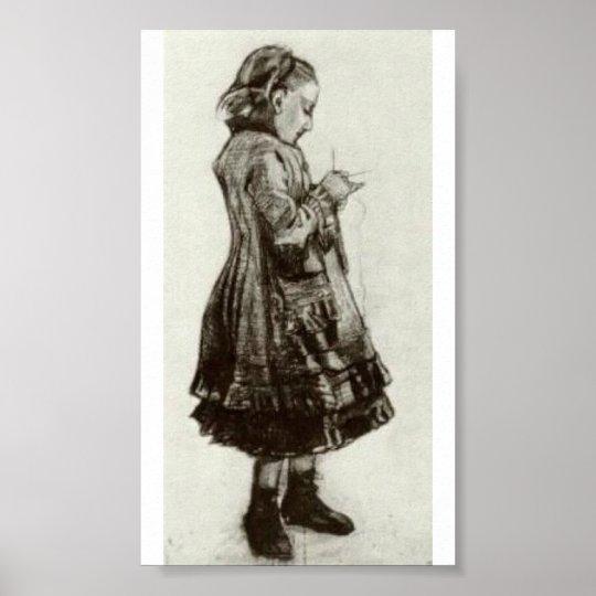 Van Gogh - Girl Standing, Knitting Poster