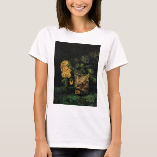 Van Gogh Glass with Roses Vintage Fine Art Flowers T-Shirt