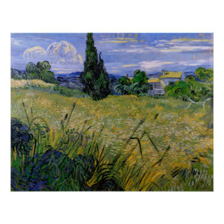 Van Gogh; Green Wheat Field w Cypress, Vintage Art Posters