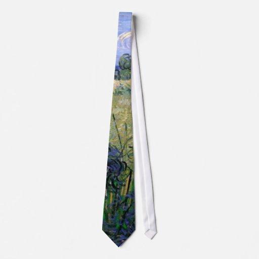 Van Gogh Green Wheat Field w Cypress, Vintage Art Custom Tie