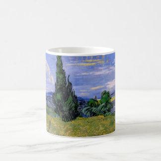 Van Gogh Green Wheat Field with Cypress, Fine Art Coffee Mug
