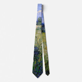 Van Gogh Green Wheat Field with Cypress, Fine Art Neck Tie