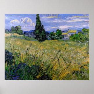 Van Gogh Green Wheat Field with Cypress, Fine Art Poster