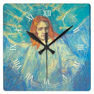 Van Gogh; Half Figure of an Angel, Vintage Art Square Wall Clock