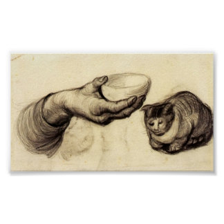 Van Gogh - Hand with Bowl and a Cat Poster