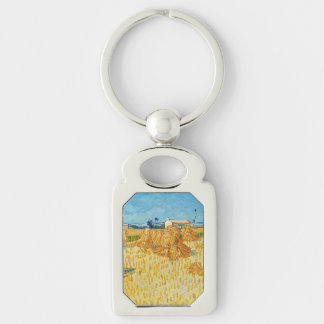 Van Gogh; Harvest in Provence Silver-Colored Rectangular Metal Keychain