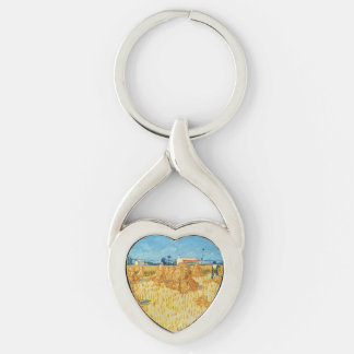 Van Gogh; Harvest in Provence Silver-Colored Heart-Shaped Metal Keychain