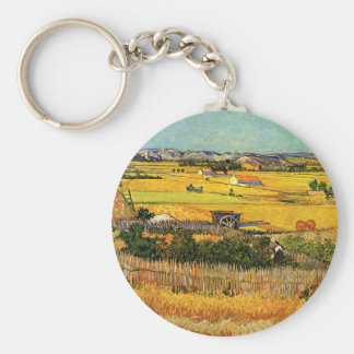 Van Gogh Harvest La Crau, Montmajour, Fine Art Keychain