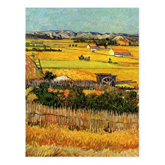 Van Gogh Harvest La Crau Montmajour in Background Post Card