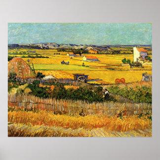 Van Gogh Harvest La Crau, Montmajour in Background Poster