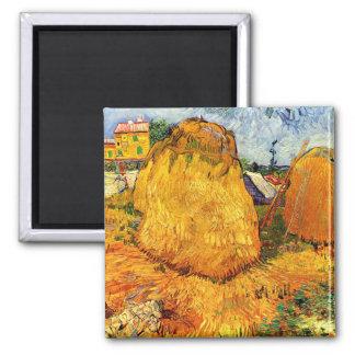 Van Gogh - Haystacks in Provence 2 Inch Square Magnet