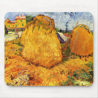 Van Gogh Haystacks in Provence, Vintage Farm Art Mouse Pad