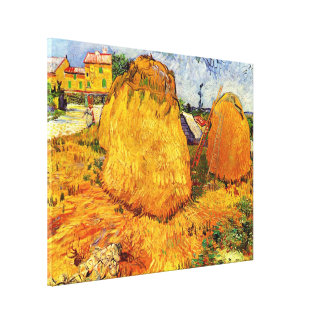 Van Gogh Haystacks in Provence, Vintage Fine Art Canvas Print