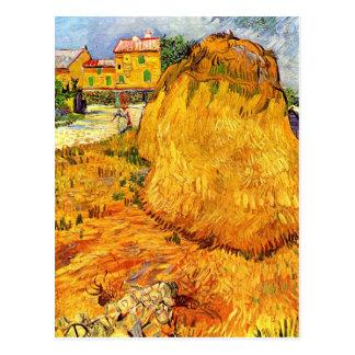 Van Gogh Haystacks in Provence, Vintage Fine Art Postcard