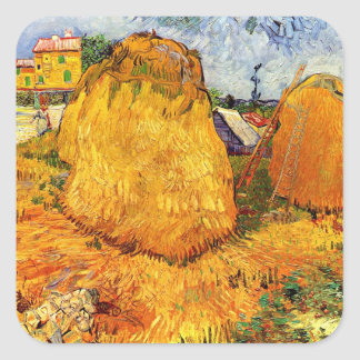 Van Gogh Haystacks in Provence, Vintage Fine Art Square Sticker