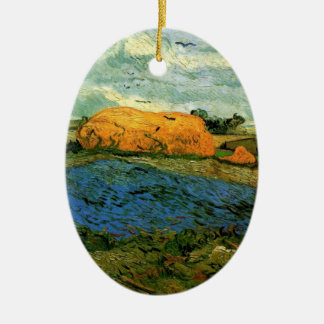 Van Gogh Haystacks Under a Rainy Sky, FineArt Ceramic Ornament