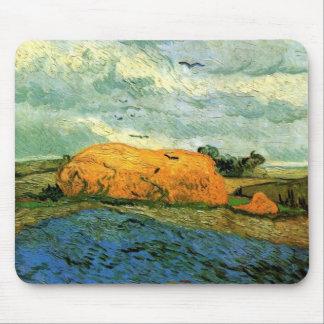 Van Gogh Haystacks Under a Rainy Sky, FineArt Mouse Pad