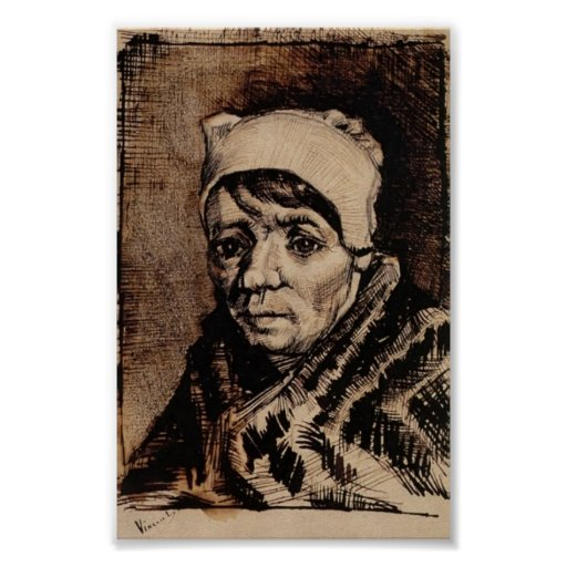 Van Gogh - Head of a Woman Posters
