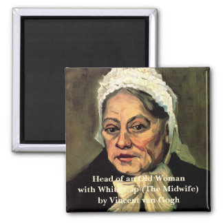 Van Gogh, Head of Old Woman, White Cap (Midwife) 2 Inch Square Magnet