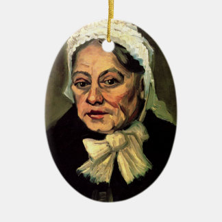 Van Gogh, Head of Old Woman, White Cap (Midwife) Ceramic Ornament