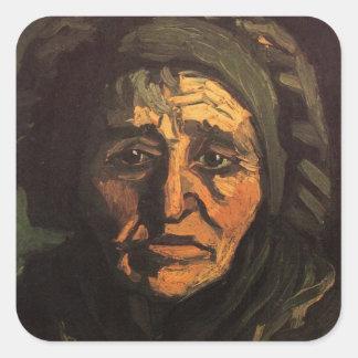 Van Gogh; Head of Peasant Woman, Greenish Lace Cap Square Sticker