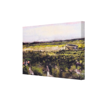 Van Gogh Heath with Wheelbarrow, Vintage Landscape Gallery Wrap Canvas