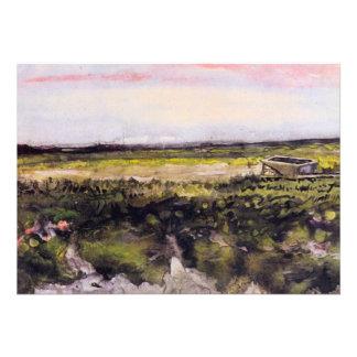 Van Gogh Heath with Wheelbarrow Vintage Landscape Card