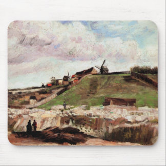 Van Gogh Hill of Montmartre with Quarry, Fine Art Mouse Pad