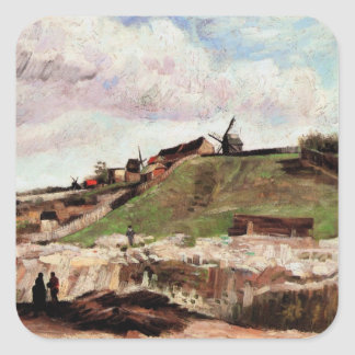 Van Gogh Hill of Montmartre with Quarry, Fine Art Square Sticker