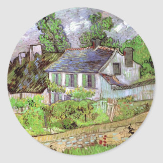 Van Gogh; Houses in Auvers, Vintage Cottages Round Stickers