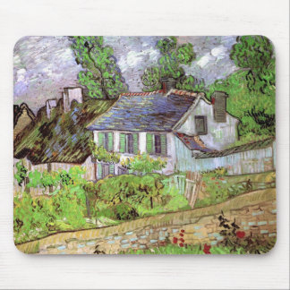 Van Gogh Houses in Auvers, Vintage Fine Art Mouse Pad