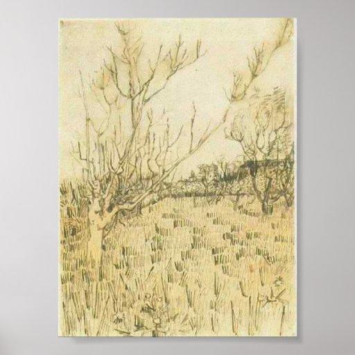 Van Gogh - huerta con Arles en el fondo Posters