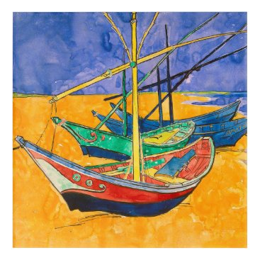 Beach Themed Van Gogh Impressionist Boats Acrylic Wall Art